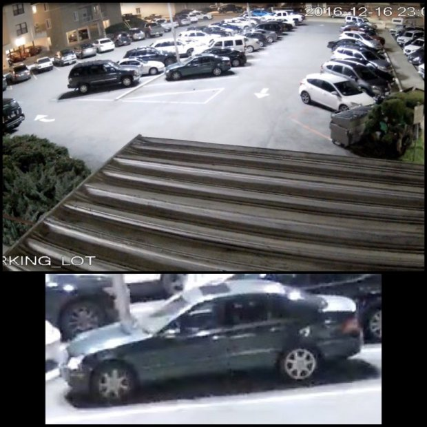 The vehicle in the middle of the surveillance image at top, also shown in the close-up at bottom, is connected to a suspect who shot a man outside the Bel Mateo Bowl in San Mateo on Dec. 16, 2016.