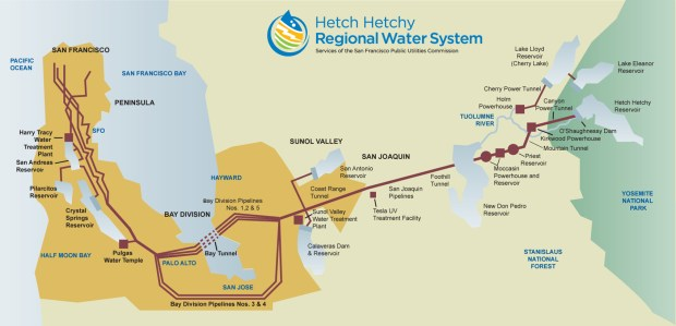 A diagram of the Hetch Hetchy Regional Water System, which provides water to Palo Alto and other cities in the Bay Area. (San Francisco Public Utilities Commission)