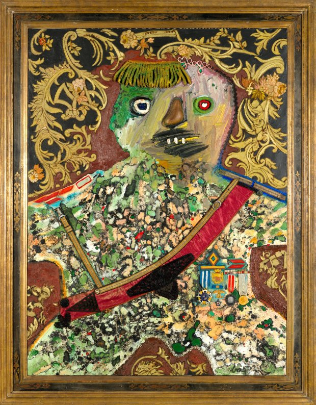 "Enrico Baj's ""Le General Mechant et Decore (Angry General withDecorations),"" 1961, is featured in ""The Conjured Life: The Legacy of Surrealism"" at the Cantor Arts Center through April 3. (Museum of Contemporary Art Chicago)"