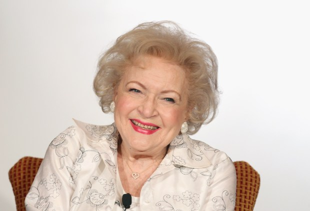 """PASADENA, CA - JANUARY 06: Actress Betty White speaks onstage during the Informal Session: Betty White's Off Their Rockers"""" panel during the NBCUniversal portion of the 2012 Winter TCA Tour at The Langham Huntington Hotel and Spa on January 6, 2012 in Pasadena, California. (Photo by Frederick M. Brown/Getty Images)"""