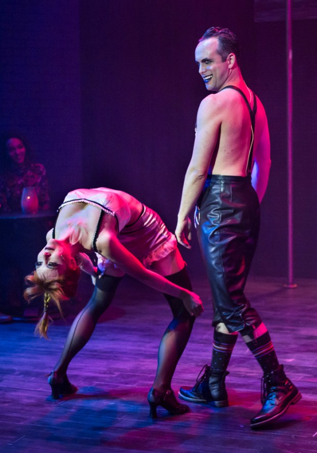 """Mark & Tracy Photography / Hillbarn TheatreThe extremely lithe Noelani Neal as Fritzie, left, and wild-eyed Keith Pinto as the Emcee in Hillbarn Theatre's stunning production of """"Cabaret."""" The show runs January 19 through February 5, 2017."""