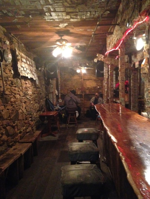 With its stacked-stone walls, ancient wooden floors and saloon vibe,Mariposa's Hideout Saloon is about as Wild West as it gets. (Photo: Jackie Burrell/Staff)