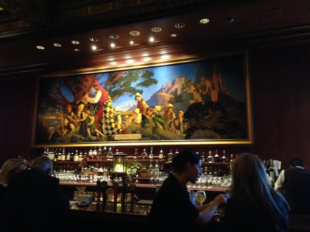 Maxfield Parrish's iconic painting hangs in splendor at The Palace's PiedPiper bar in San Francisco. (Jackie Burrell/Bay Area News Group)