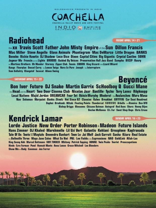 Coachella 2017: Full lineup for music festival