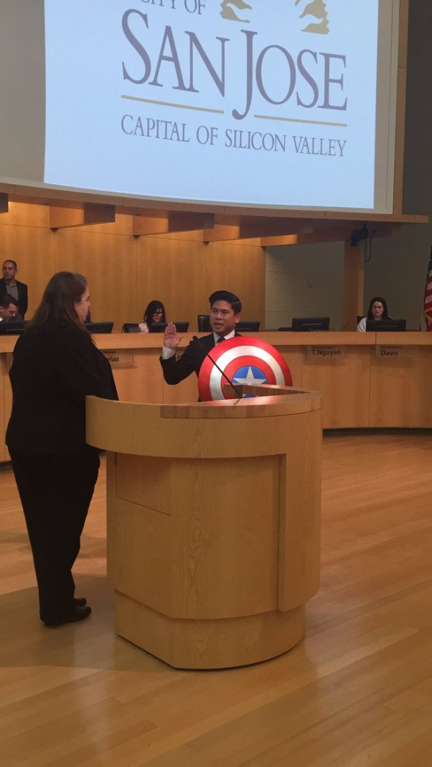 San Jose City Councilman Lan Diep donned a Captain America shield for his swearing-in Tuesday