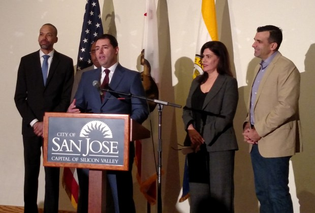 Jed York, San Francisco 49ers CEO, speaks at a press conference prior to a police-community relations forum at the Mexican Heritage Plaza in San Jose on Jan. 21, 2017, flanked by Walter Katz, San Jose's Independent Police Auditor, Vice Mayor Magdalena Carrasco, and Mayor Sam Liccardo.