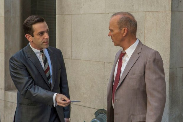 """This image released by The Weinstein Company shows B.J. Novak, left, and Michael Keaton in a scene from, """"The Founder."""" (Daniel McFadden/The Weinstein Company via AP)"""