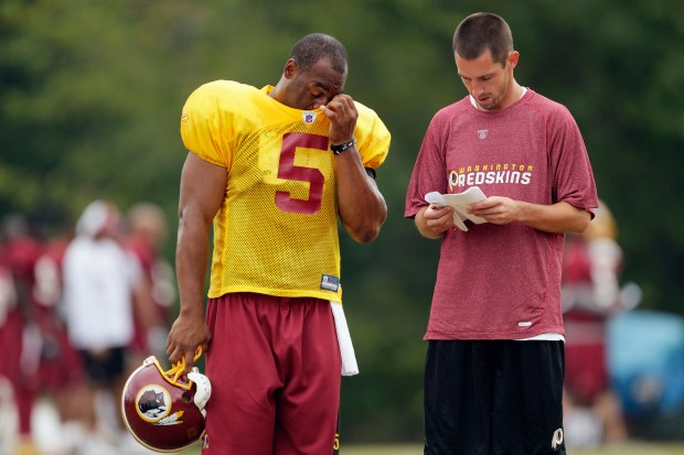Washington Redskins offensive coordinator Kyle Shanahan, right, stands with quarterback Donovan McNabb at the NFL football team's training camp at Redskins Park, Tuesday, Aug. 3, 2010, in Ashburn, Va. (AP Photo/Carolyn Kaster)