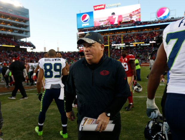 San Francisco 49ers head coach Chip Kelly leaves the field after their 25-23 loss to the Seattle Seahawks for their NFL game at Levi's Stadium in Santa Clara, Calif., on Sunday, Jan. 1, 2017. (Nhat V. Meyer/Bay Area News Group)