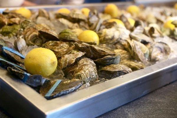 EMC Seafood's raw bar menu features several oyster varieties daily, aswell as carpaccio (octopus, scallop or salmon), albacore sashimi and ceviches.