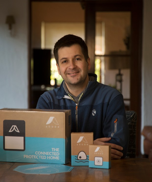 Brent Franks, co-founder of Abode, a startup that makes smart home products, is photographed at a home where his products are installed and tested in Saratoga, Calif., Friday, Jan. 27, 2017. In Silicon Valley, the home next door may not be a simple residents. It could, instead, be a lab for tech equipment. Companies both large and small are renting or buying houses to test out their tech products in the real world. (Patrick Tehan/Bay Area News Group)