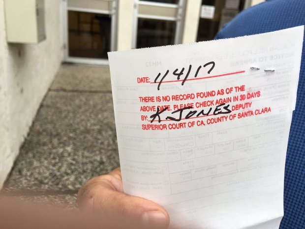 Mario Ramirez displays the back of his speeding ticket on Jan. 4, 2017,, which shows that a clerk has stamped it in red ink, indicating that he showed up to take care of the citation but it has not yet been entered in the court's computer system. (Tracey Kaplan/Bay Area News Group)​