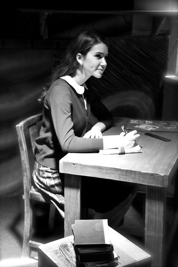 """Menlo School sophomore Clara Guthrie in the title role of """"The Diary of Anne Frank,"""" playing Feb. 10-12, 2017, at Menlo School in Atherton. (Sarah Lucas photo)"""