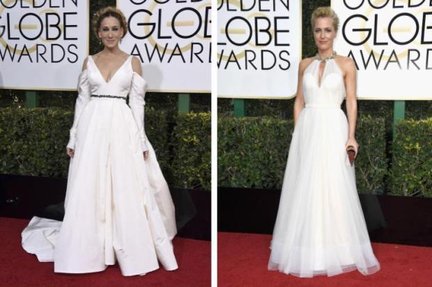 Sarah Jessica Parker vs. Gillian Anderson (Photos by Jordan Strauss and Frazer Harrison/Getty Images)