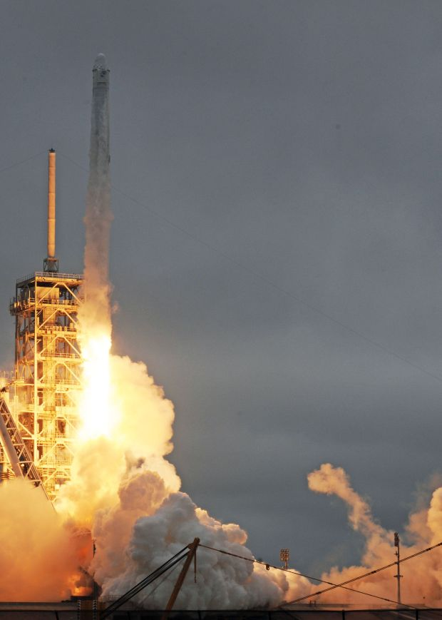 The SpaceX Falcon 9 rocket, carrying a Dragon cargo capsule, launches from the Kennedy Space Center Launch Complex 39A in Florida on February 19, 2017.The current resupply mission is the 10th of up to 20 planned trips to the International Space Station. The unmanned cargo capsule is packed with more than 5,000 pounds (2,267 kilograms) of food, gear and science experiments. Launchpad 39A was used for the Apollo and space shuttle launches. (BRUCE WEAVER/AFP/Getty Images)