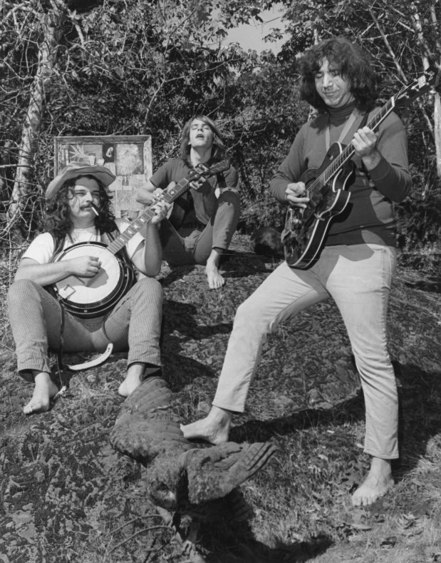"Members of the Grateful Dead at Camp Lagunitas in 1966. From left, Ron ""Pig Pen"" McKernan, Bob Weir and Jerry Garcia. ""The reason we chose Marin is simple, really,"" said Dennis McNally, longtime publicist for the Grateful Dead, the rock and roll pioneers who have maintained a creative and commercial presence in Marin for a quarter century. ""It's paradise."" (IJ photo/Jim Kean)"