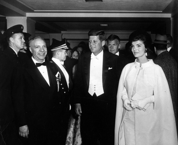 386620 29: President John F. Kennedy and First Lady Jacqueline Kennedy attend the inaugural ball January 20, 1961 in Washington, DC. (Photo courtesy of Kennedy Library Archives/Newsmakers)