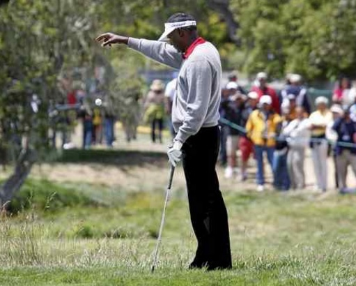 Vijay Singh takes a drop (which he was not penalized a stroke on) on the second hole during the third round for the 2010 U.S. Open at Pebble Beach Golf Link on June 19, 2010. (Nhat V. Meyer - Mercury News file)