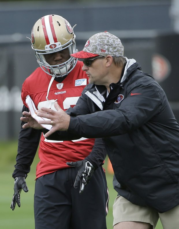 San Francisco 49ers running backs coach Tom Rathman, right, talks with Kelvin Taylor during NFL football rookie camp football Santa Clara, Calif., Saturday, May 7, 2016. (AP Photo/Jeff Chiu)