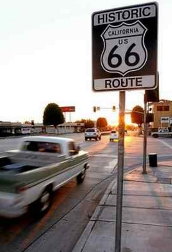 Historic Route 66 sign at the Glendora intersection of Grand Avenue and Route 66, formerly Alosta Avenue. (Leo Jarzomb, SGVN file photo)