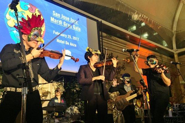 The Villalobos Brothers perform at the San Jose Jazz Mardi Gras Gala at theHotel De Anza in San Jose on Saturday, Feb. 25, 2017. (Sal Pizarro/Staff)