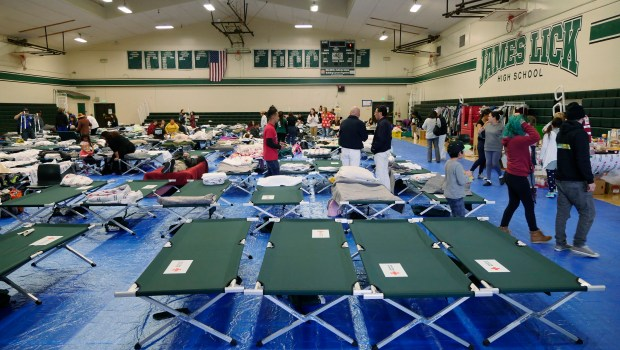 The Red Cross shelter began filling up with flood evacuees on Wednesday in the gymnasium at James Lick High School Wednesday, Feb. 22, 2017, in San Jose, Calif. (Jim Gensheimer/Bay Area News Group)