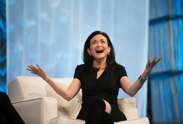 Facebook COO Sheryl Sandberg reacts during the Watermark Conference for Women at the San Jose Convention Center in San Jose, Calif., on Wednesday, Feb. 1, 2017. (LiPo Ching/Bay Area News Group)
