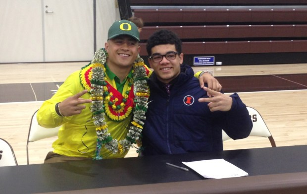 St. Francis teammates Cyrus Habibi-Likio, left, and Bennett Williams signed natoinal letters of intent to play football at Oregon and Illinois, respectively. (Vytas Mazeika / Bay Area News Group)