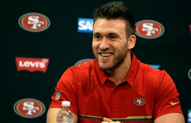 San Francisco 49ers' fullback Kyle Juszczyk smiles during a media conference Friday, March 10, 2017, in Santa Clara, Calif. (AP Photo/Ben Margot)