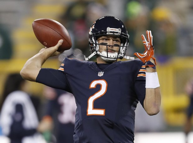 Chicago Bears quarterback Brian Hoyer (2) warms up before an NFL football game against the Green Bay Packers, Thursday, Oct. 20, 2016, in Green Bay, Wis. (AP Photo/Matt Ludtke)