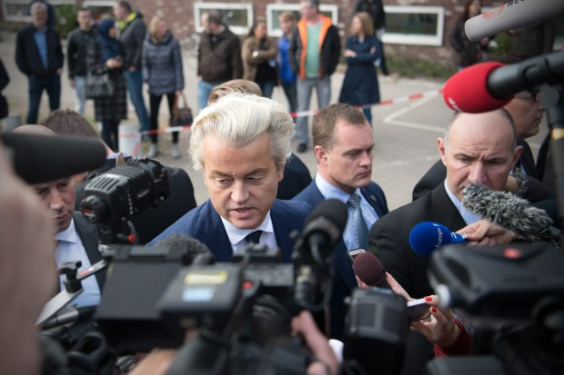 Geert Wilders after casting his vote during the Dutch general election, on March 15, 2017 in The Hague, Netherlands.  (Photo by Carl Court/Getty Images)