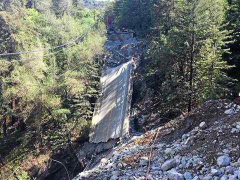 The third and final span of the condemned Pfeiffer Canyon Bridge came down Wednesday. (Photo courtesy Caltrans)