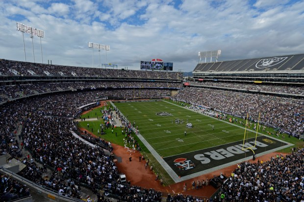 Fans watch as the Oakland Raiders play the New York Jets at O.co Coliseum in Oakland, Calif., on Sunday, Nov. 1, 2015. (Jose Carlos Fajardo/Bay Area News Group Archives)