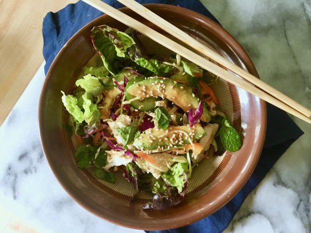 What's not to love about an Asian-inspired chicken salad? Here, rotisseriechicken gets this dinner from fridge to table in a flash. (Photo: A Little Yumminess)