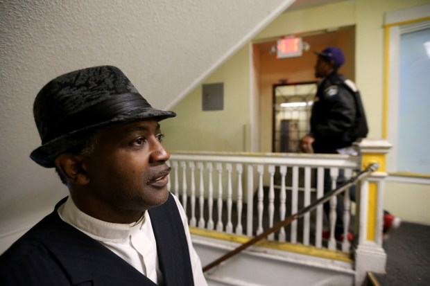 Dr. Rev. Jasper Lowery, Founder and Executive Director of Urojas Community Services, poses for a photo inside the building on San Pablo Avenue in Oakland Calif., on Tuesday, March 21, 2017. Urojas is a community services organization that provides temporary housing for homeless people, veterans and people with mental health needs. The organization and its tenants are facing eviction to make improvements in the building. (Ray Chavez/Bay Area News Group)