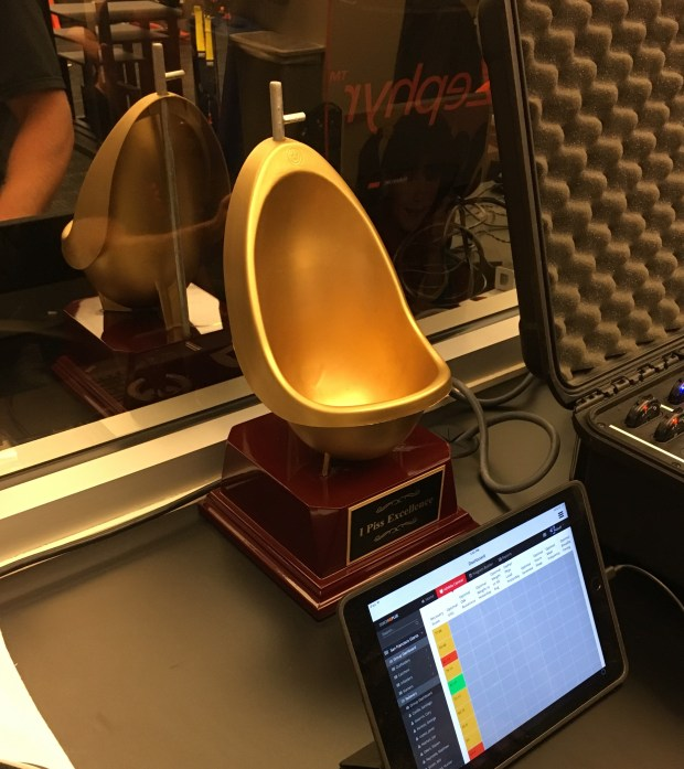 The Golden Urinal trophy goes to the Giants' most hydrated player.