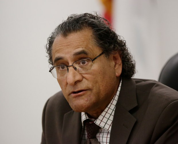 Esau Ruiz Herrera member of ARUESD board of trustees, is photographed during board meeting at Alum Rock Union Elementary School District in San Jose, Calif., on Wednesday, March 29, 2017. (Josie Lepe/Bay Area News Group)