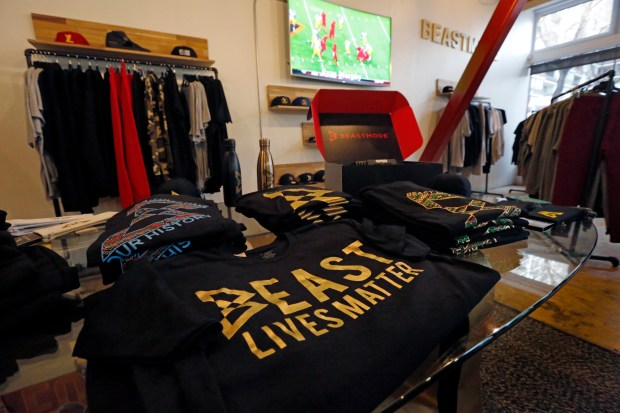 The local line of clothes are displayed at Marshawn Lynch's store Beastmode in downtown Oakland, Calif., on Friday, March 24, 2017. (Laura A. Oda/Bay Area News Group)