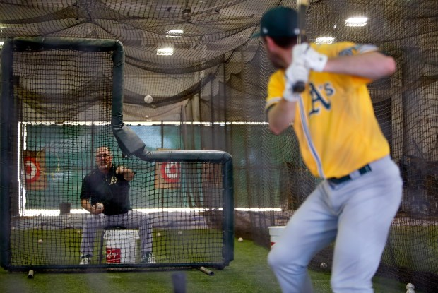 Craig Lefferts, the Oakland Athletics minor league rehab pitching coordinator, works Wednesday, March, 1, 2017, at the team's Lew Wolff Training Complex in Mesa, Az. Lefferts, once a stalwart of the San Francisco Giants bullpen in the 1980s, is also known for hitting the only walk-off home run by a pitcher over the past 47 years. (Karl Mondon/Bay Area News Group)