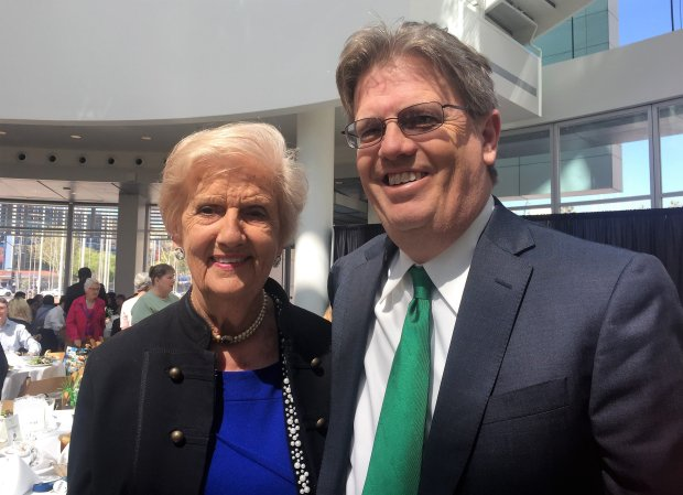 Spirit of Ireland honoree Marie O'Flaherty. left, and her son, BrendanO'Flaherty, at the annual luncheon celebrating San Jose and Dublin's sister city relationship at San Jose City Hall on Tuesday, March 28, 2017. (Sal Pizarro/Staff)