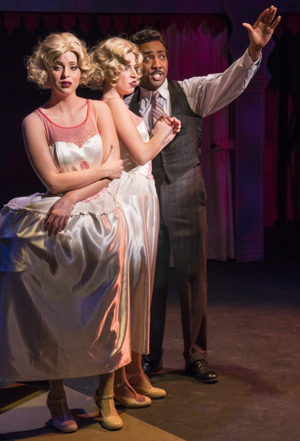"Jessica LaFever as Daisy Hilton, Lauren Meyer as Violet Hilton with Edward Clark as Jake in ""Side Show,"" presented by Foothill Music Theatre at the Lohman Theatre in Los Altos Hills, March 2 through March 19, 2017. (David Allen / Foothill Music Theatre)"