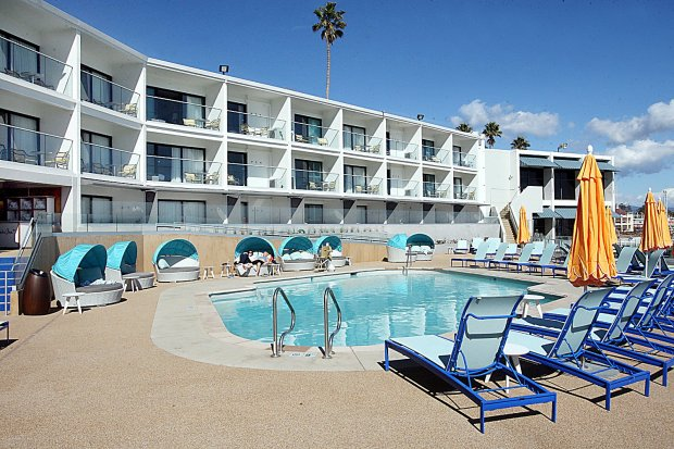 The entire pool area has been remodeled and include an outdoor bar and a spongy walking surface around the pool.  (Dan Coyro -- Santa Cruz Sentinel)