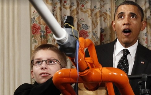 In Feb. 2012, Joey Hudy and former president Obama created a stir when they shot a marshmallow across the State Dining Room at the White House Science Fair. (Youtube/The Obama White House)
