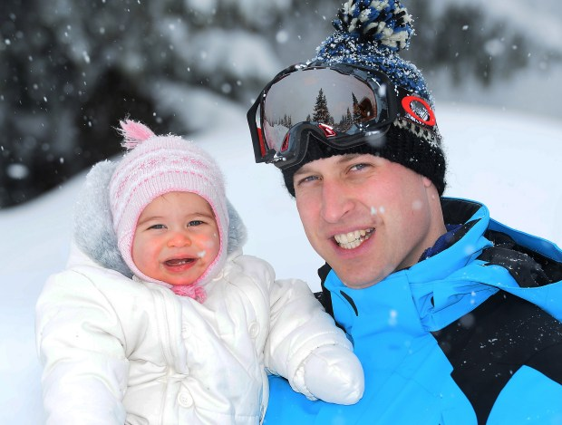 FRENCH ALPS, FRANCE - MARCH 3: (NEWS EDITORIAL USE ONLY. NO COMMERCIAL USE. NO MERCHANDISING) Prince William, Duke of Cambridge and Princess Charlotte, enjoy a short private skiing break on March 3, 2016 in the French Alps, France. (Photo by John Stillwell - WPA Pool/Getty Images)(TERMS OF RELEASE - News editorial use only - it being acknowledged that news editorial use includes newspapers, newspaper supplements, editorial websites, books, broadcast news media and magazines, but not (by way of example) calendars or posters.)