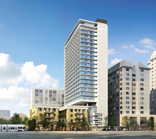 Conceptual image of the Tribute Hotel, proposed for downtown San Jose. The 24-story hotel would have 279 rooms and connect to the existing Montgomery.