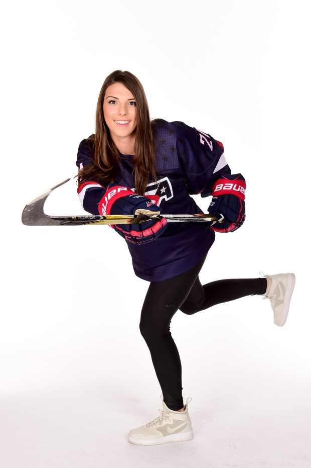 Hilary Knight of Sun Valley, Idaho, is one of the top players for the U.S. women's hockey team. (Photo by Harry How/Getty Images)