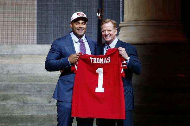 PHILADELPHIA, PA - APRIL 27: (L-R) Solomon Thomas of Stanford poses with Commissioner of the National Football League Roger Goodell after being picked #3 overall by the San Francisco 49ers (from Bears) during the first round of the 2017 NFL Draft at the Philadelphia Museum of Art on April 27, 2017 in Philadelphia, Pennsylvania. (Photo by Jeff Zelevansky/Getty Images)