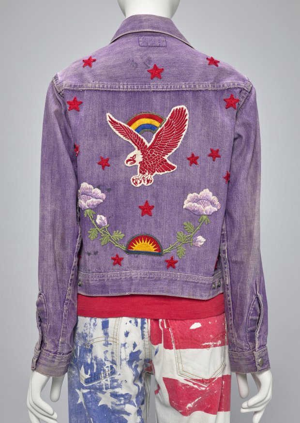 "Customized ""Farah of Texas"" denim jacket with cotton patches and metalstuds, ca. 1960s; with silkscreened Levi's denim jeans, ca. 1960s, both by Helene Robertson. (Fine Arts Museums of San Francisco)"