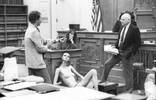 County Coroner Dr. Richard Mason, at right, testifies during the murder trial of Terry Childs on Jan. 19, 1987. (Dan Coyro — Santa Cruz Sentinel file)