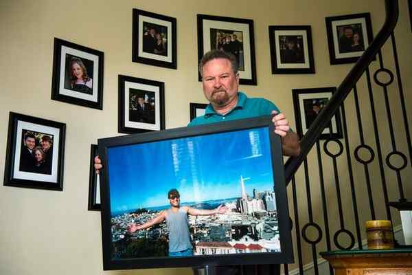Don Rosenberg of Westlake Village holds a picture of his son, Drew Rosenberg, who was killed in a traffic collision in 2010 by an immigrant from Honduras. (Photo by Michael Owen Baker, Special to the Los Angeles Daily News)